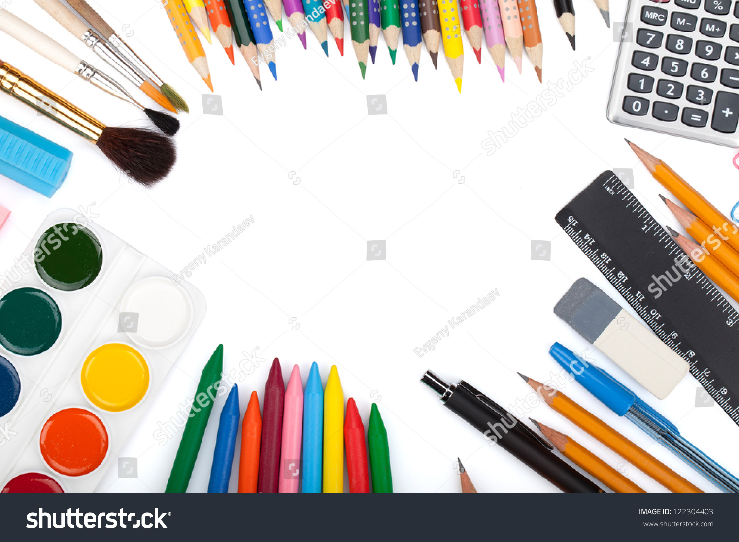 School Office Tools View Above Isolated Stock Photo 122304403 ...
