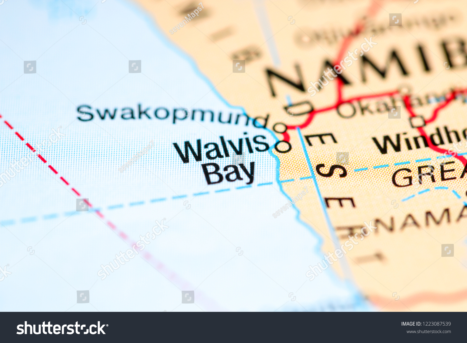 Walvis Bay Namibia Africa On Map Stock Photo Edit Now 1223087539