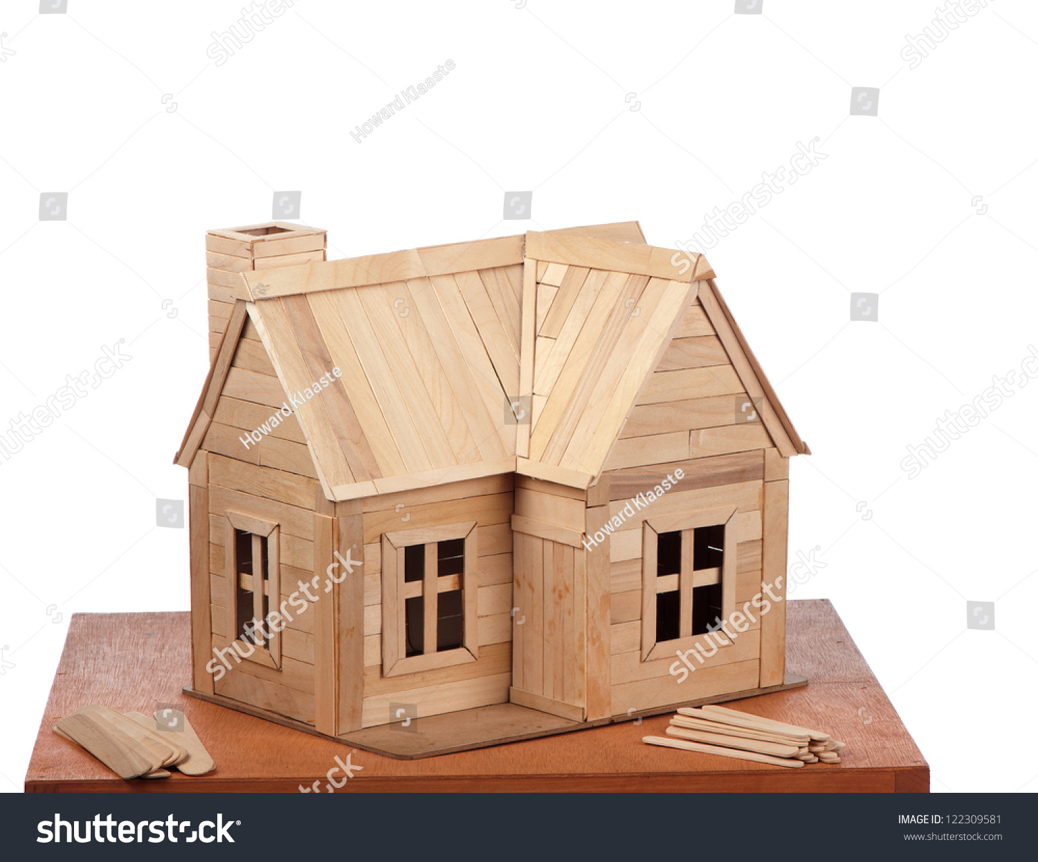 Completed popsicle stick house displayed some stock photo for Model house building materials