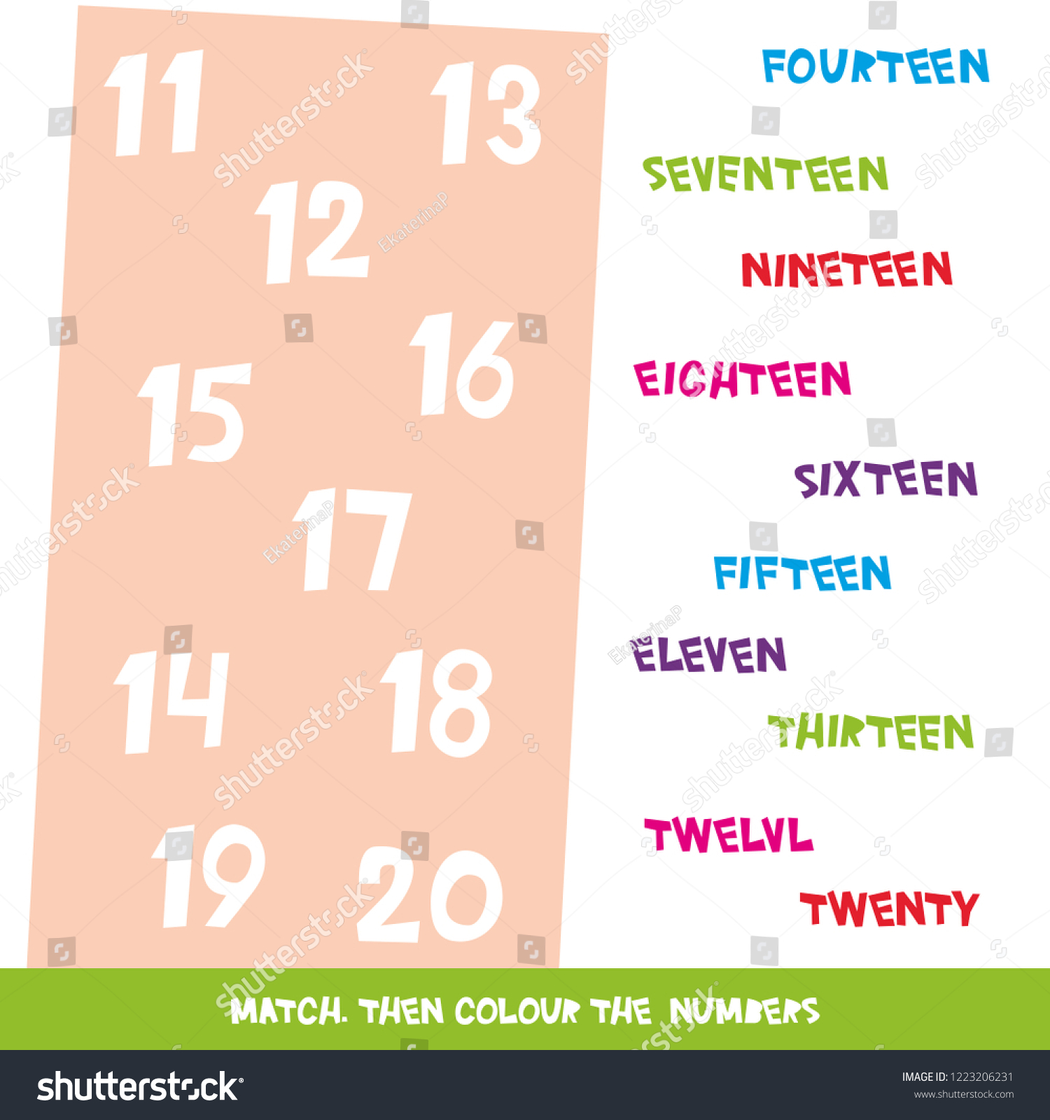 Match Colour Numbers 11 20 Kids Stock Illustration 1223206231