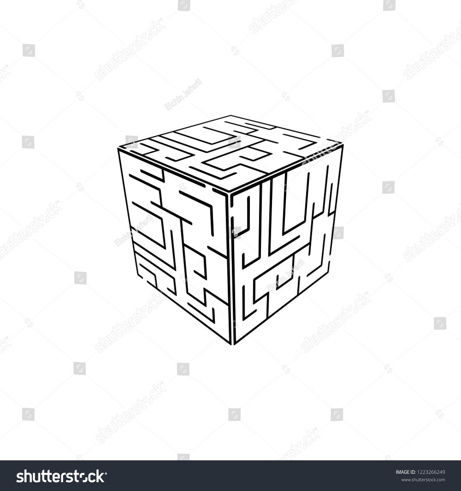 Cube Maze Icon Element Problem Solving Stock Illustration 1223266249