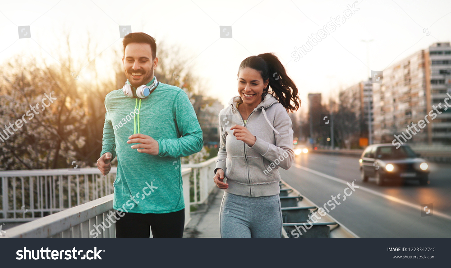 Friends fitness training together outdoors living active healthy #1223342740