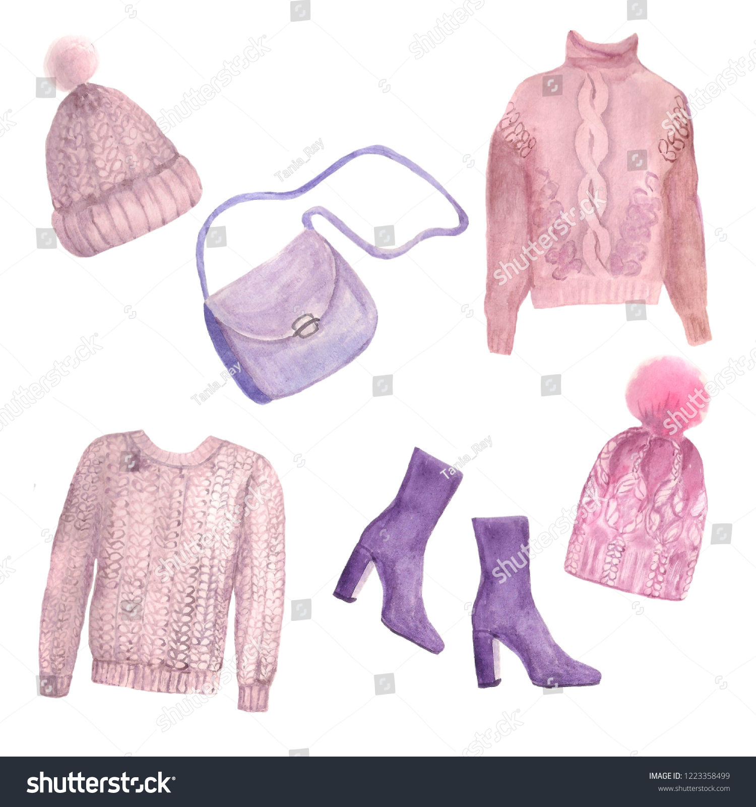 4f6610829562 Watercolor Set Warm Knitted Things Winter Stock Illustration ...