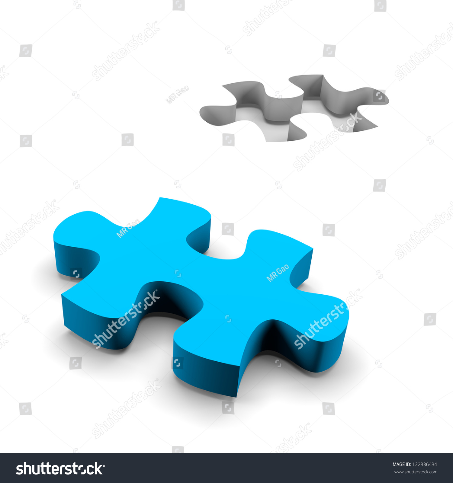 Blue Puzzle Piece His Missing On Stock Illustration ...