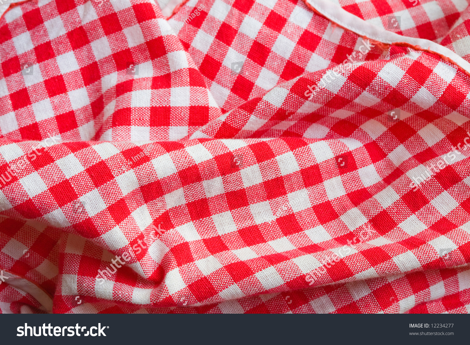 Red Picnic Cloth Background Texture Detail Stock Photo