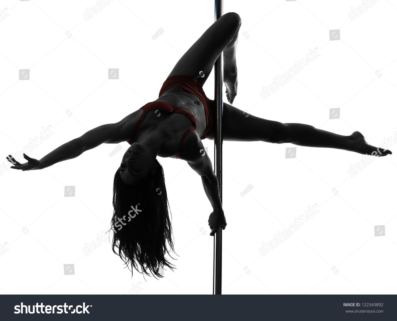 One Caucasian Woman Pole Dancer Dancing In Silhouette ...