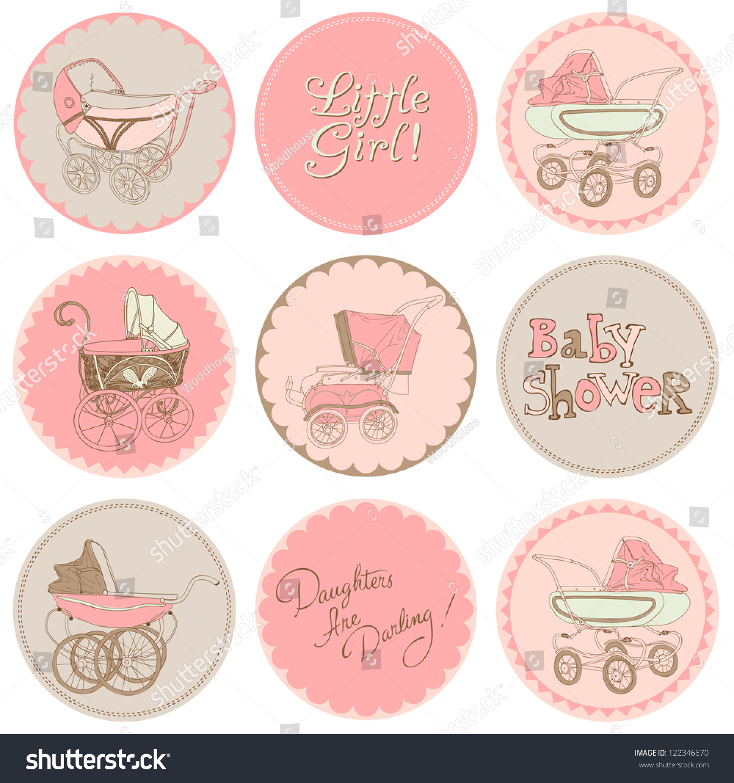 How to scrapbook for baby girl - Baby Girl Shower Party Set For Your Design And Scrapbook In Vector