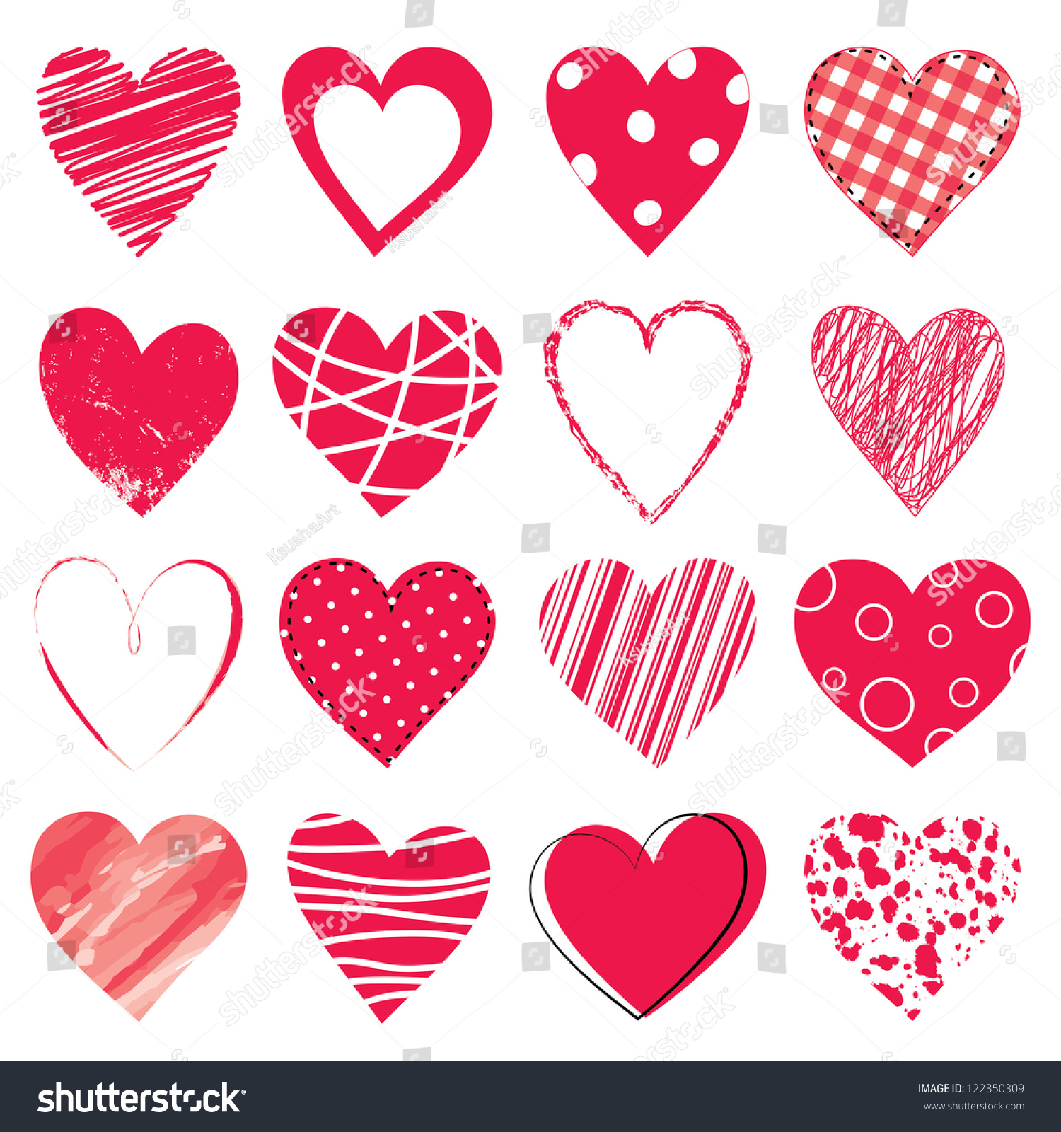 valentine day doodle hearts stock vector 122350309 shutterstock