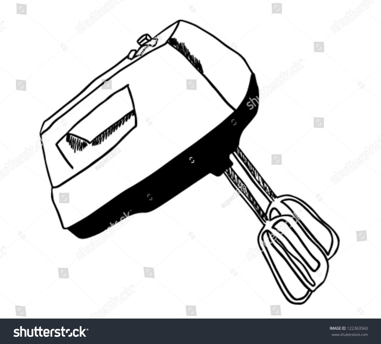 Hand Mixer Clip Art ~ Kitchen hand mixer drawing vector illustration