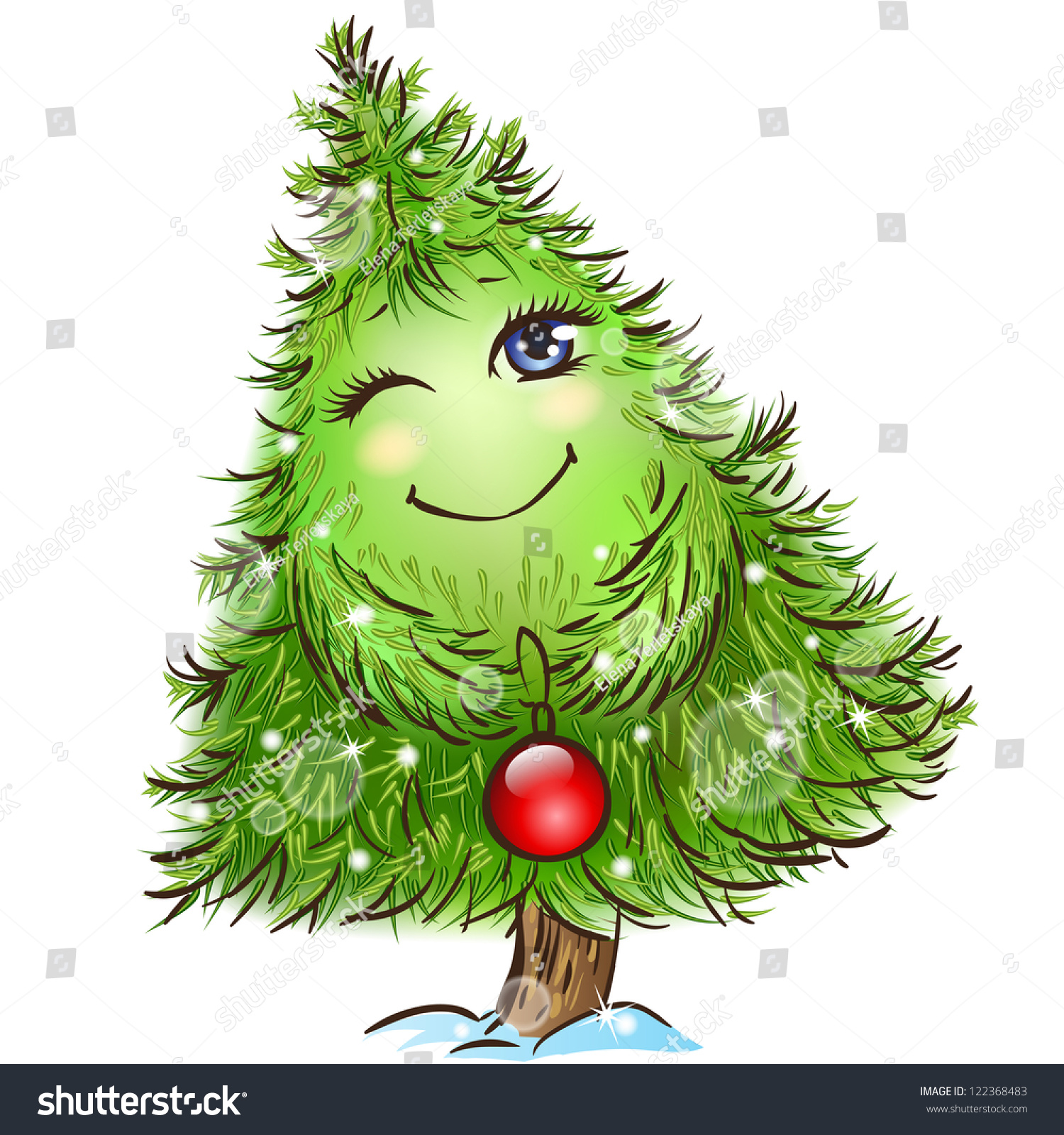Cute Little Christmas Tree Character Red Stock Vector