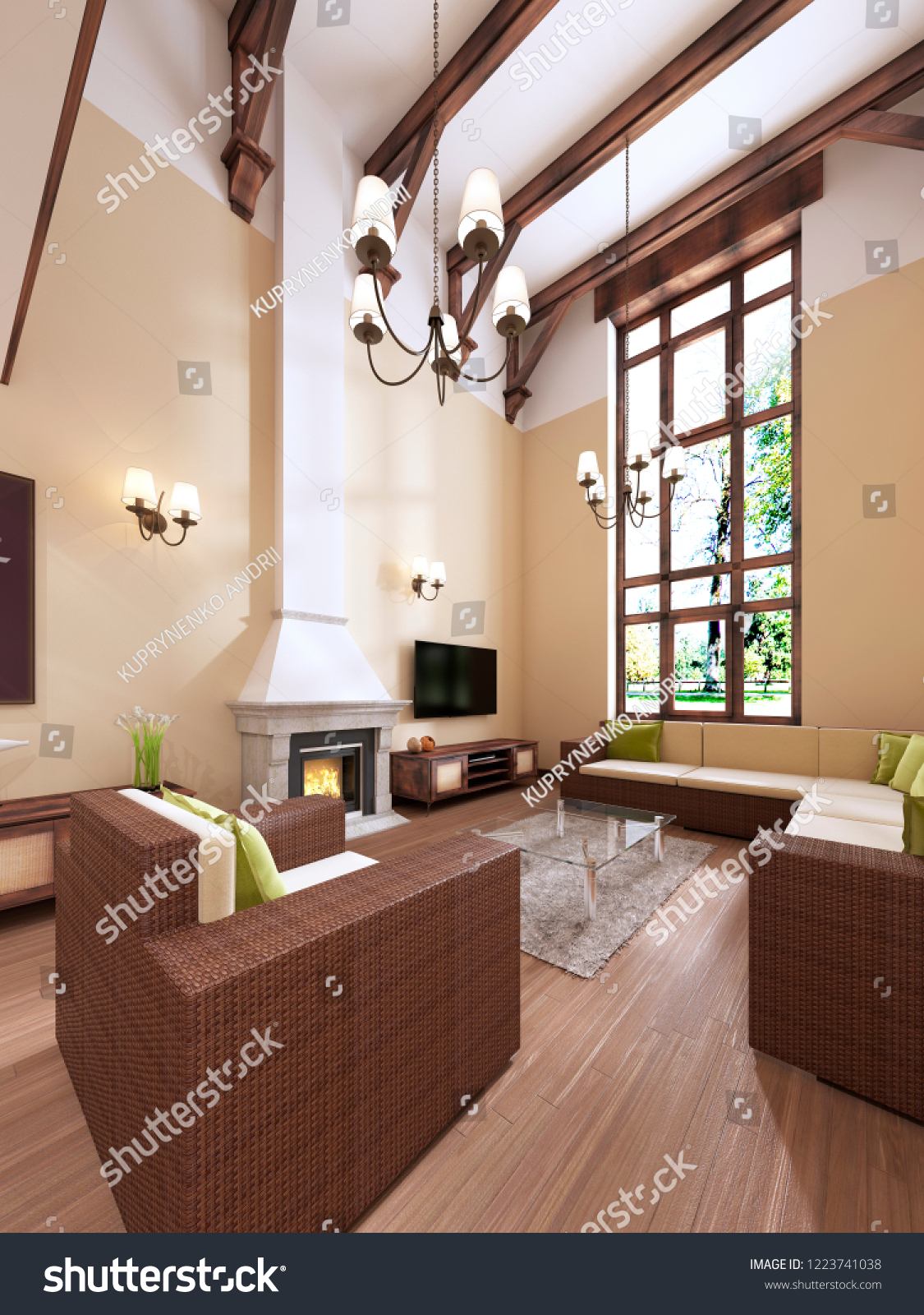 The interior is modern english style with a fireplace high ceilings with wooden beams