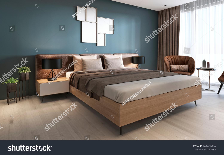 Contemporary Bedroom Dark Blue Walls Light Royalty Free