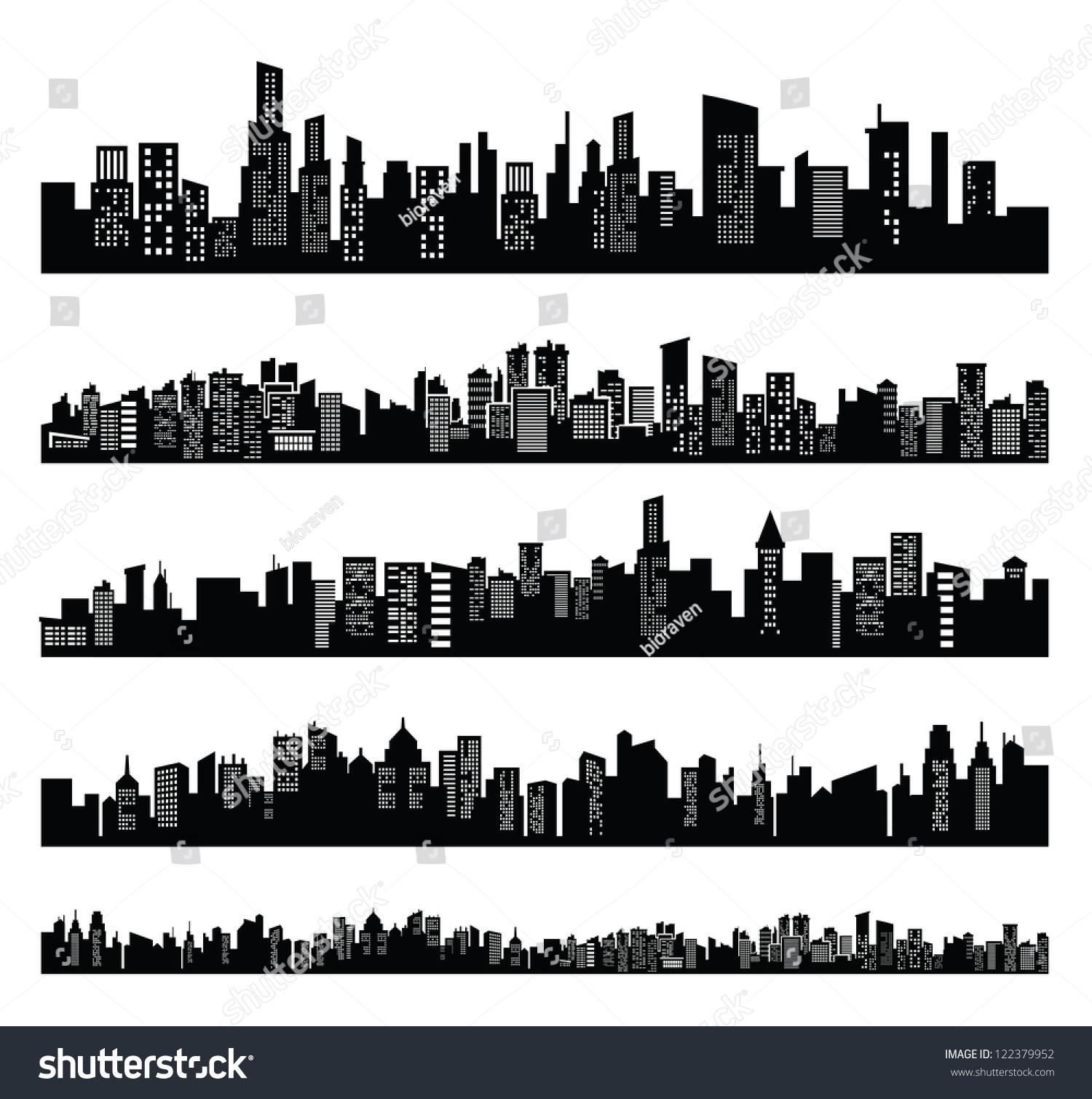 Vector Black City Icons Set On White - 122379952 ...