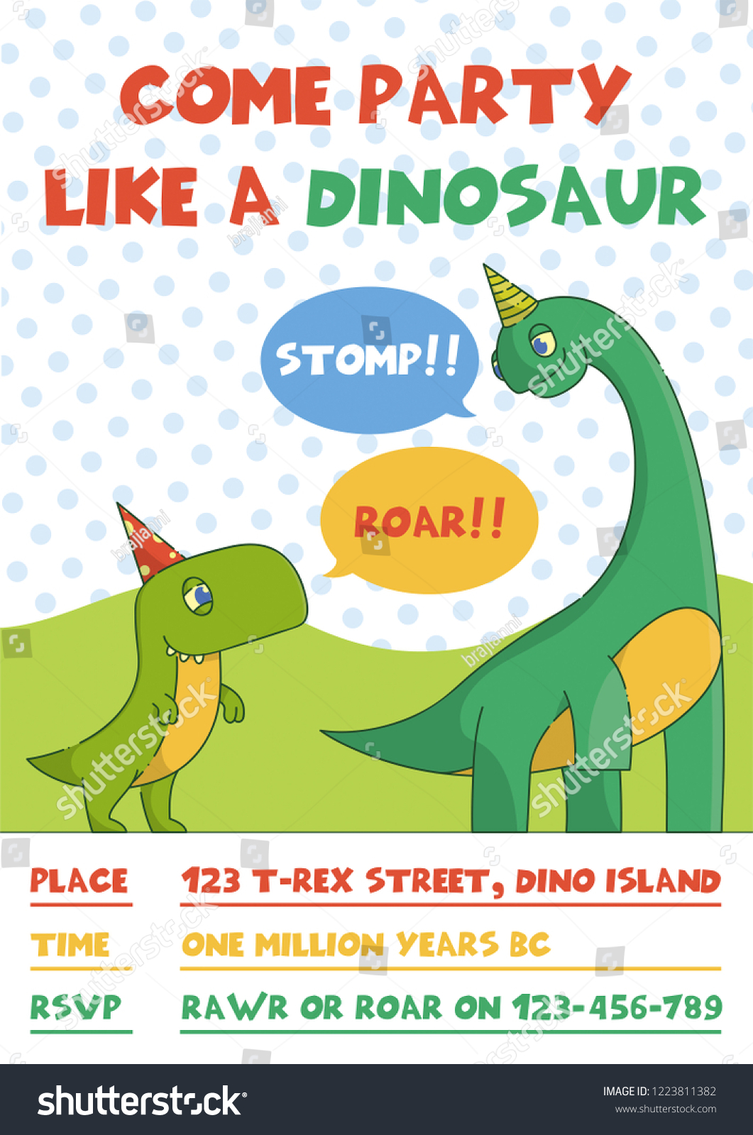 Birthday Party Invitation With T Rex And Brachiosaurus Cute Animal Character Line Art Little Tyrannosaurus Diplodocus