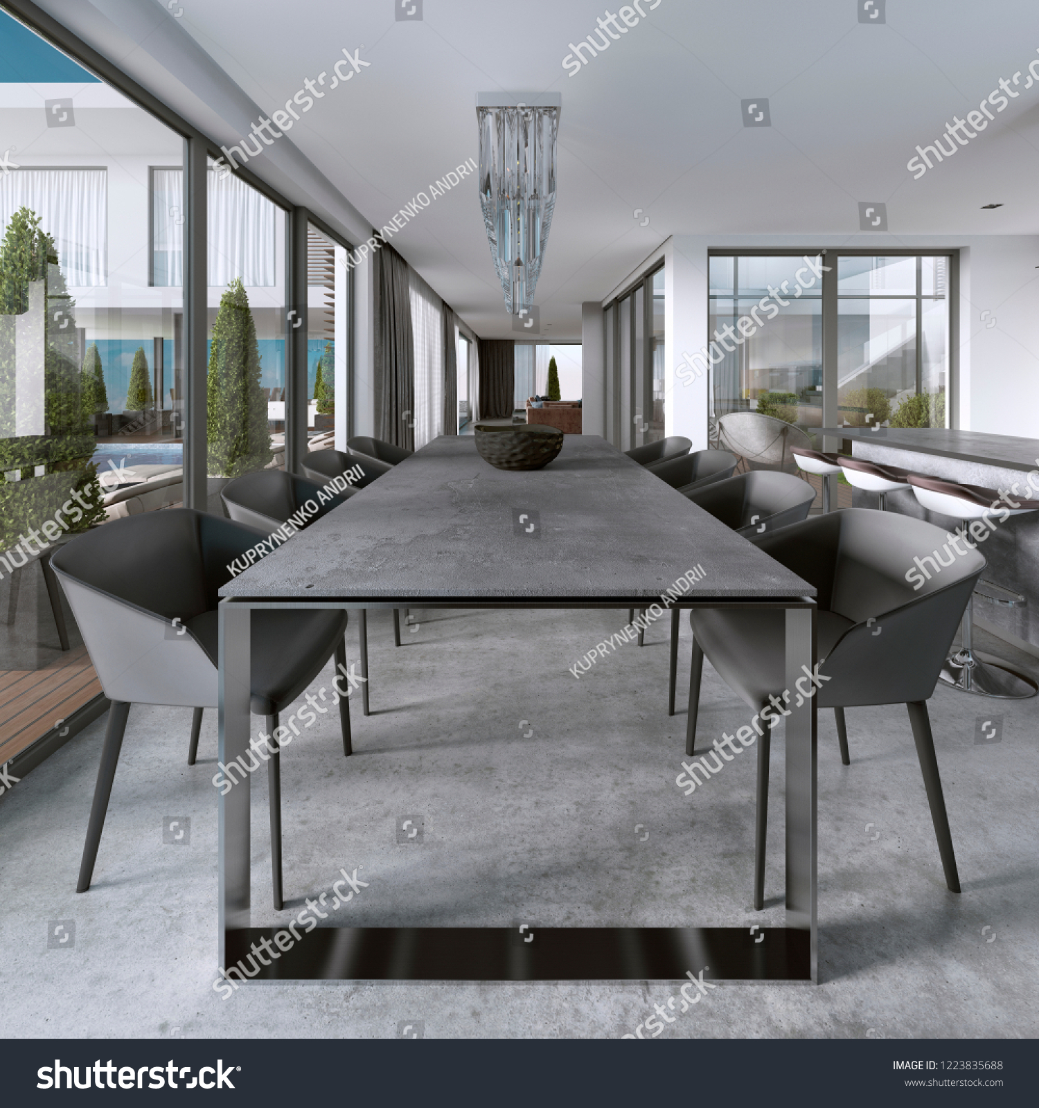 Large Modern Dining Table Contemporary Kitchen Stock