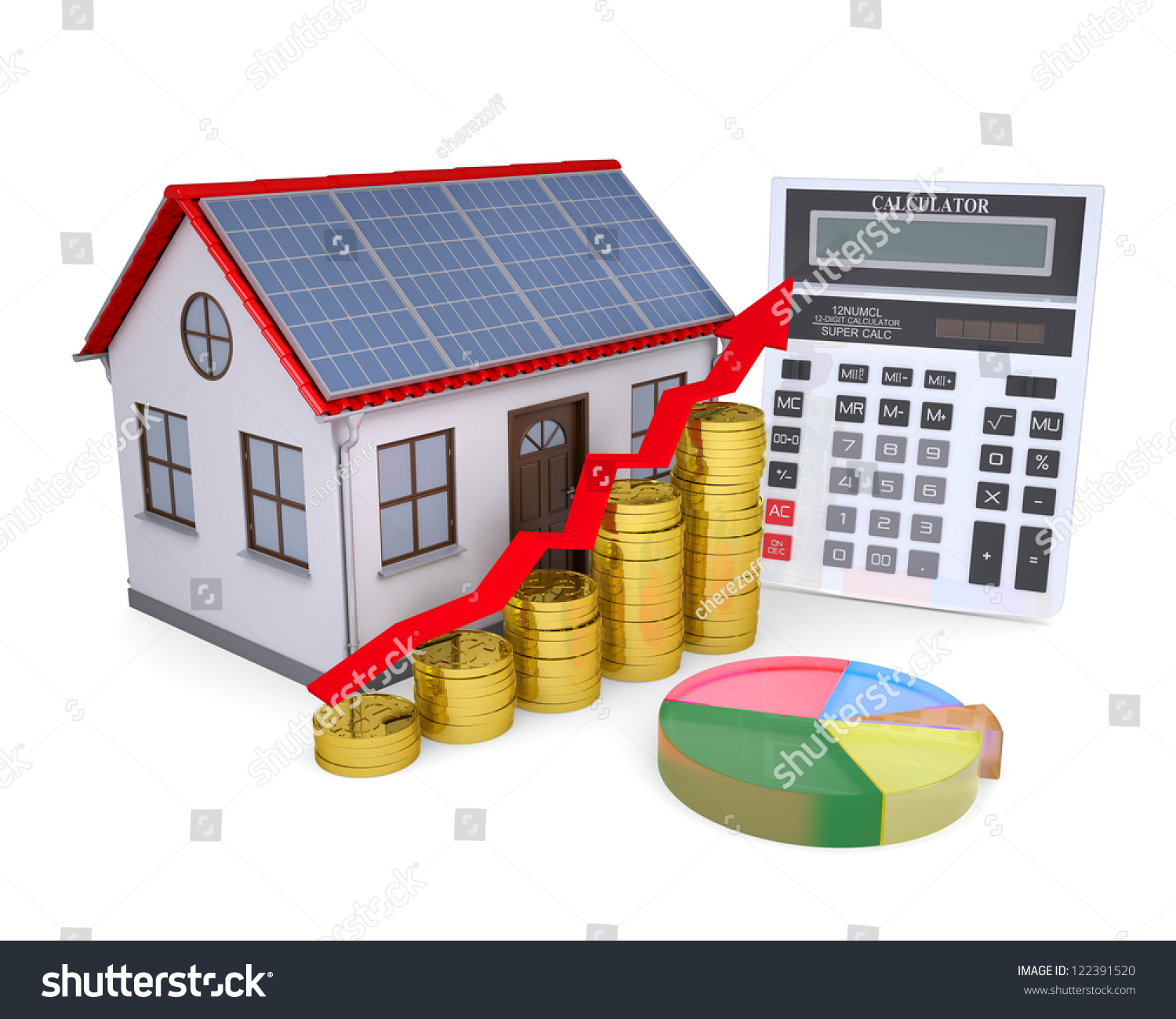 House Solar Panels Calculator Schedule Coins Stock Illustration