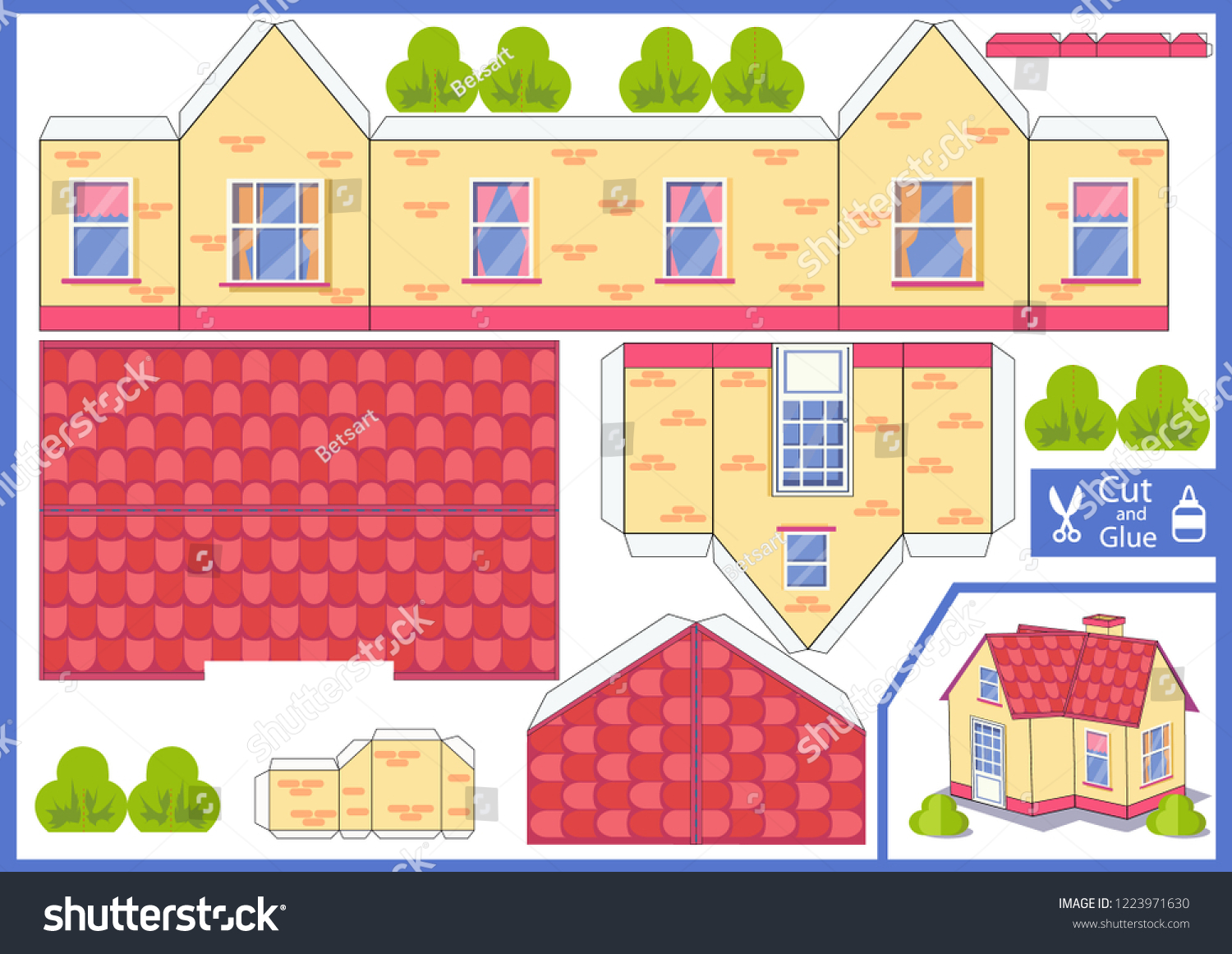 3d House Cut Glue Paper House Stock Vector Royalty Free 1223971630