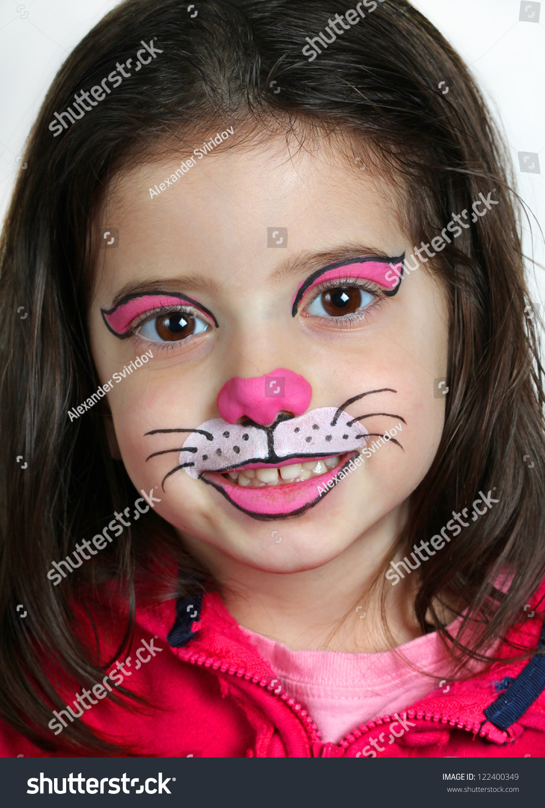 Pretty Girl Face Painting Cat Stock Photo 122400349