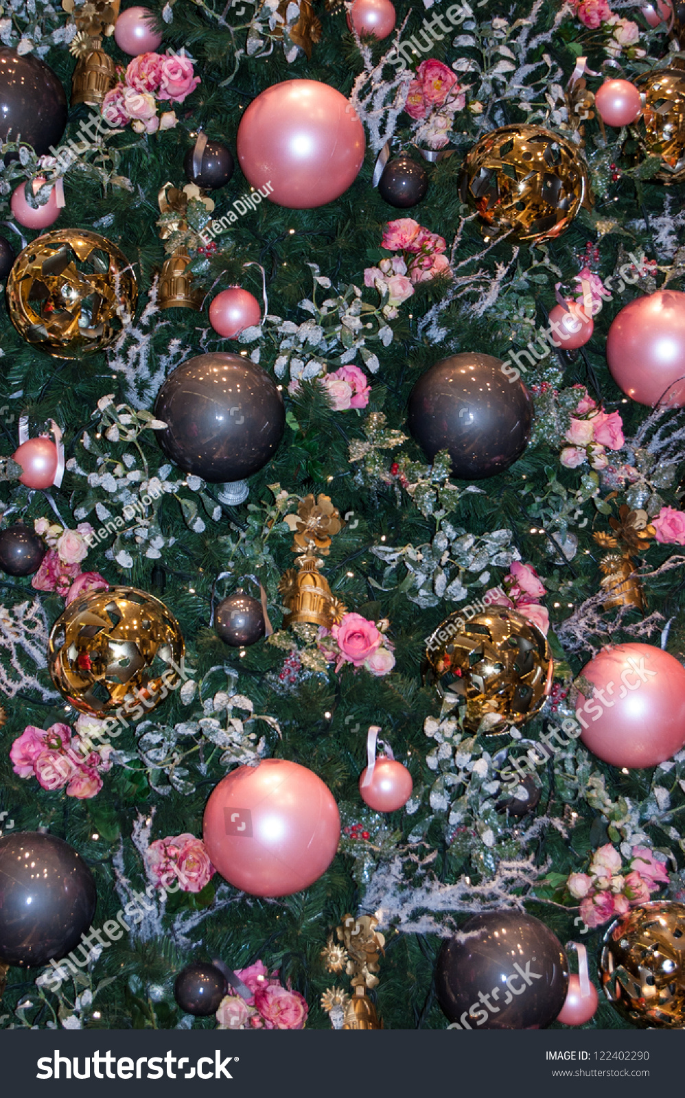 Christmas trees decorated pink - Save To A Lightbox