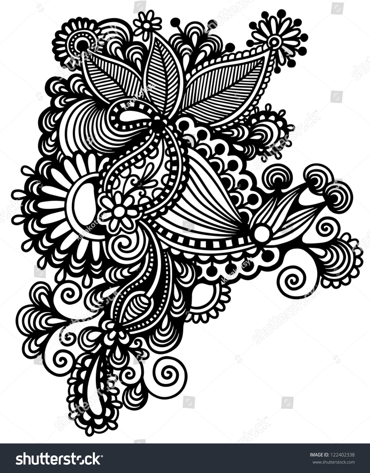 Traditional Flower Line Drawing : Original hand draw line art ornate stock illustration
