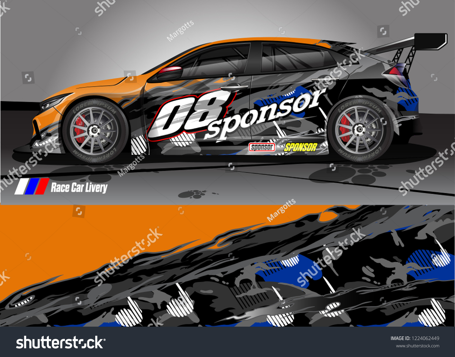 Vehicle graphic kit vector abstract tribal lines with camouflage background for race car van