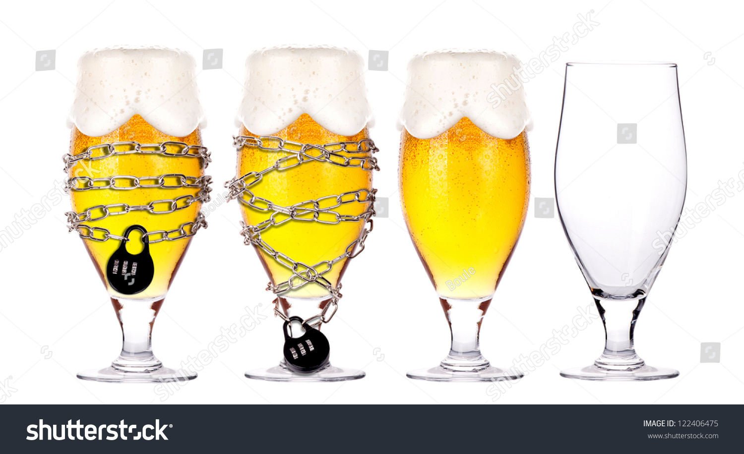 alcohol abuse concept - background with beer locked on a chain ...