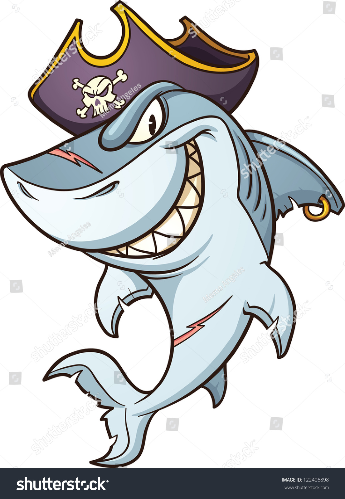 cartoon pirate shark vector clip art stock vector 122406898