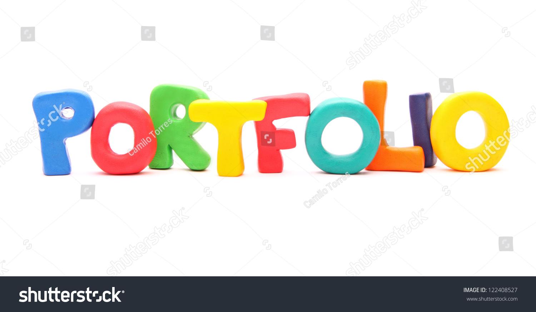 portfolio webwords plasticine letters standing isolated stock portfolio webwords of plasticine letters standing isolated on white
