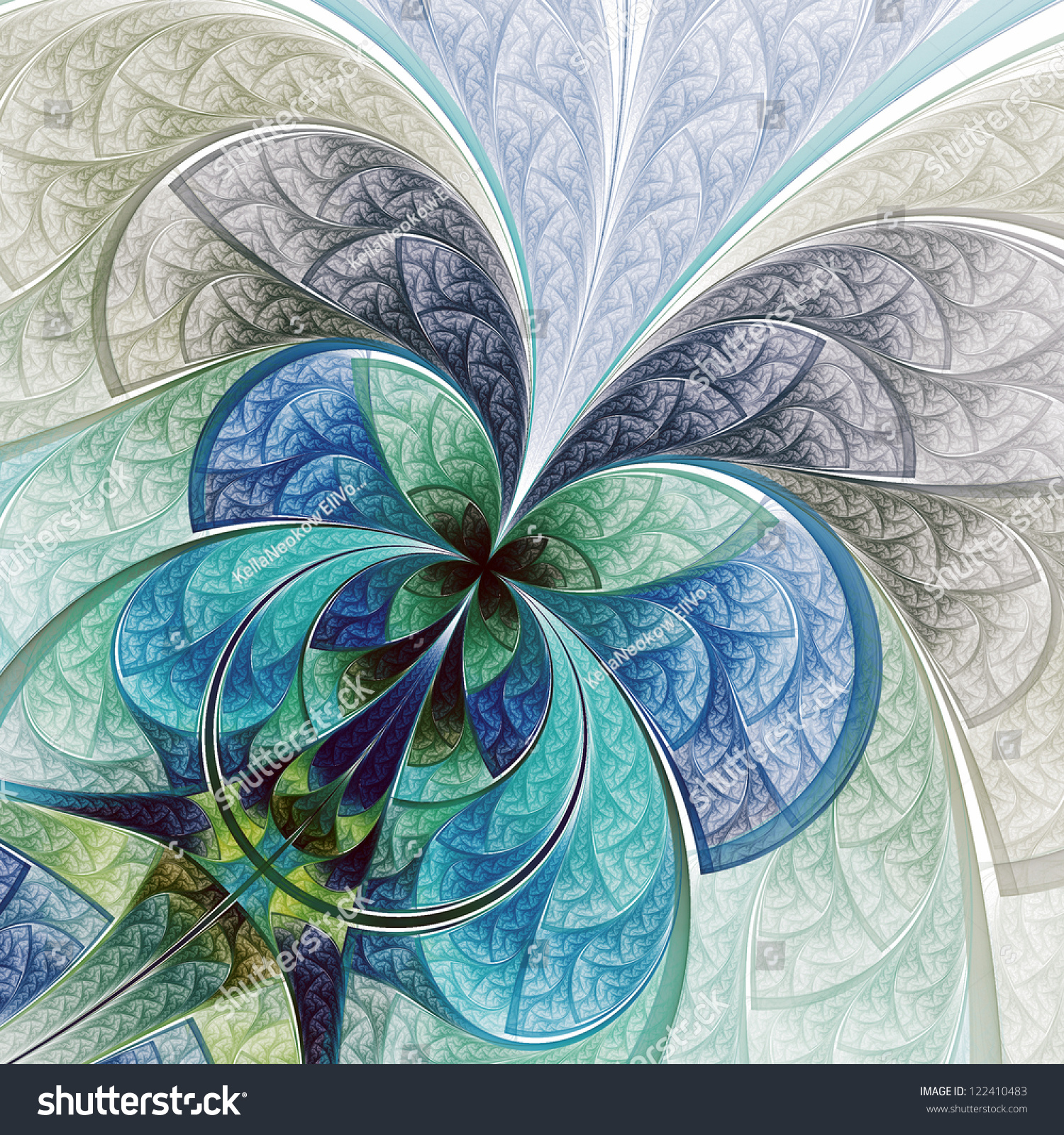 Fractal Black Flower Free Stock Photo: Colorful Abstract Flower Or Butterfly, Digital Fractal Art