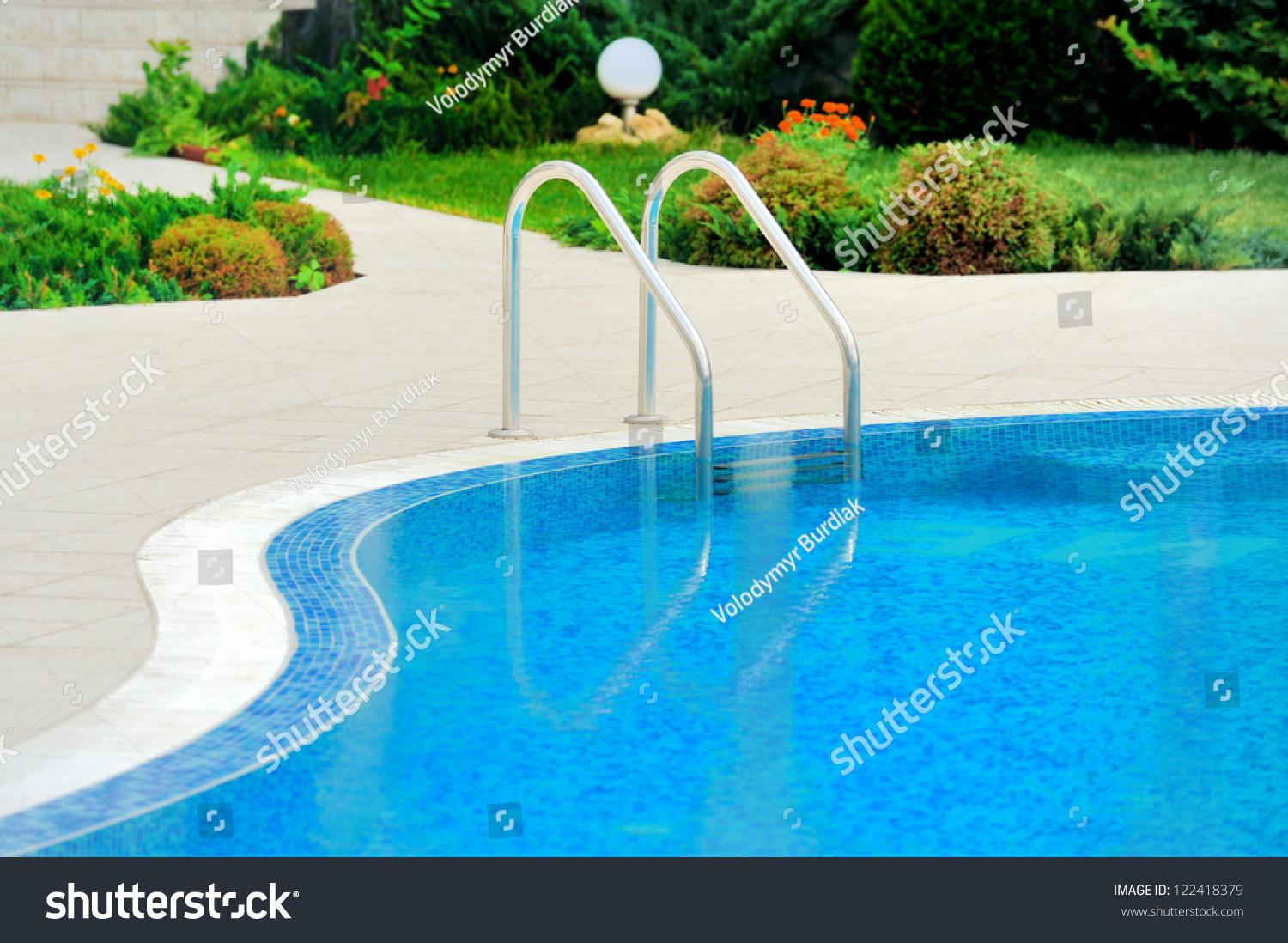 Swimming Pool With Stair At Hotel Close Up Stock Photo 122418379 Shutterstock