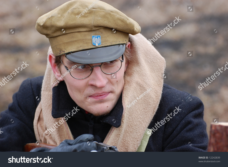Student soldier 1918. Civil War in Russia reenacting