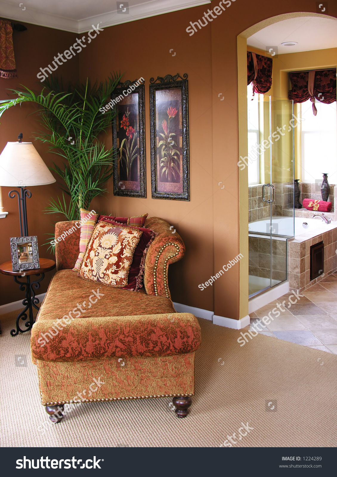 A photo of a nicely decorated master bedroom and bathroom - Nicely decorated bathrooms ...