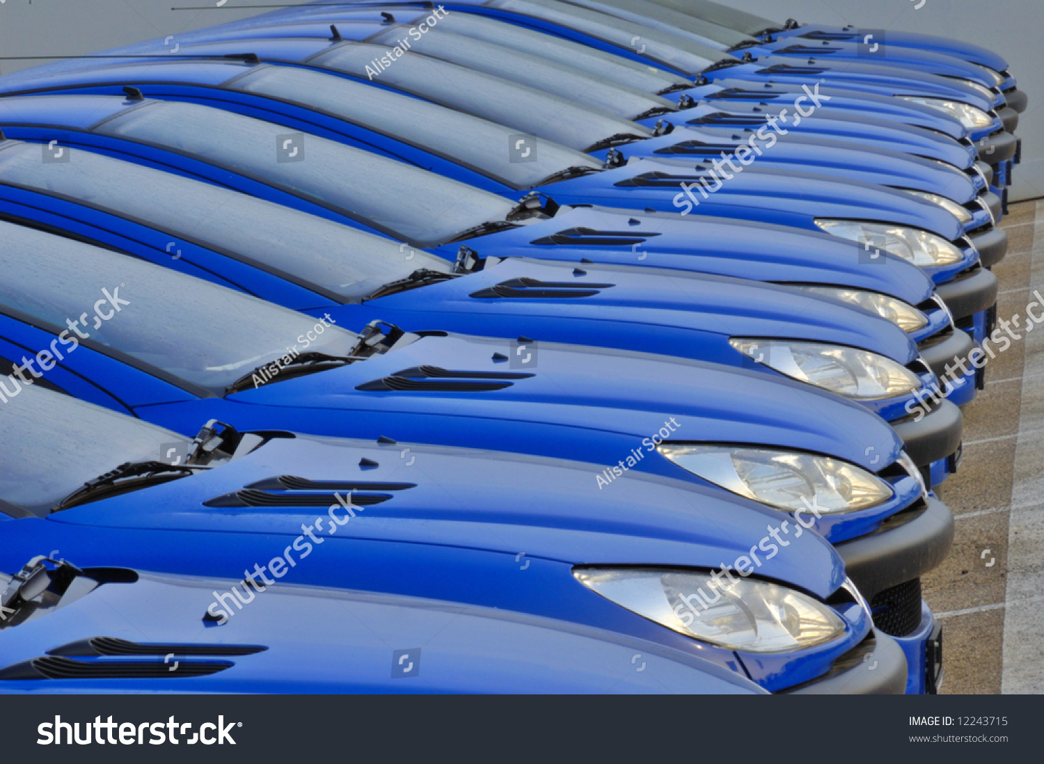 Line Cars All Same Parked Side Stock Photo (Edit Now)- Shutterstock