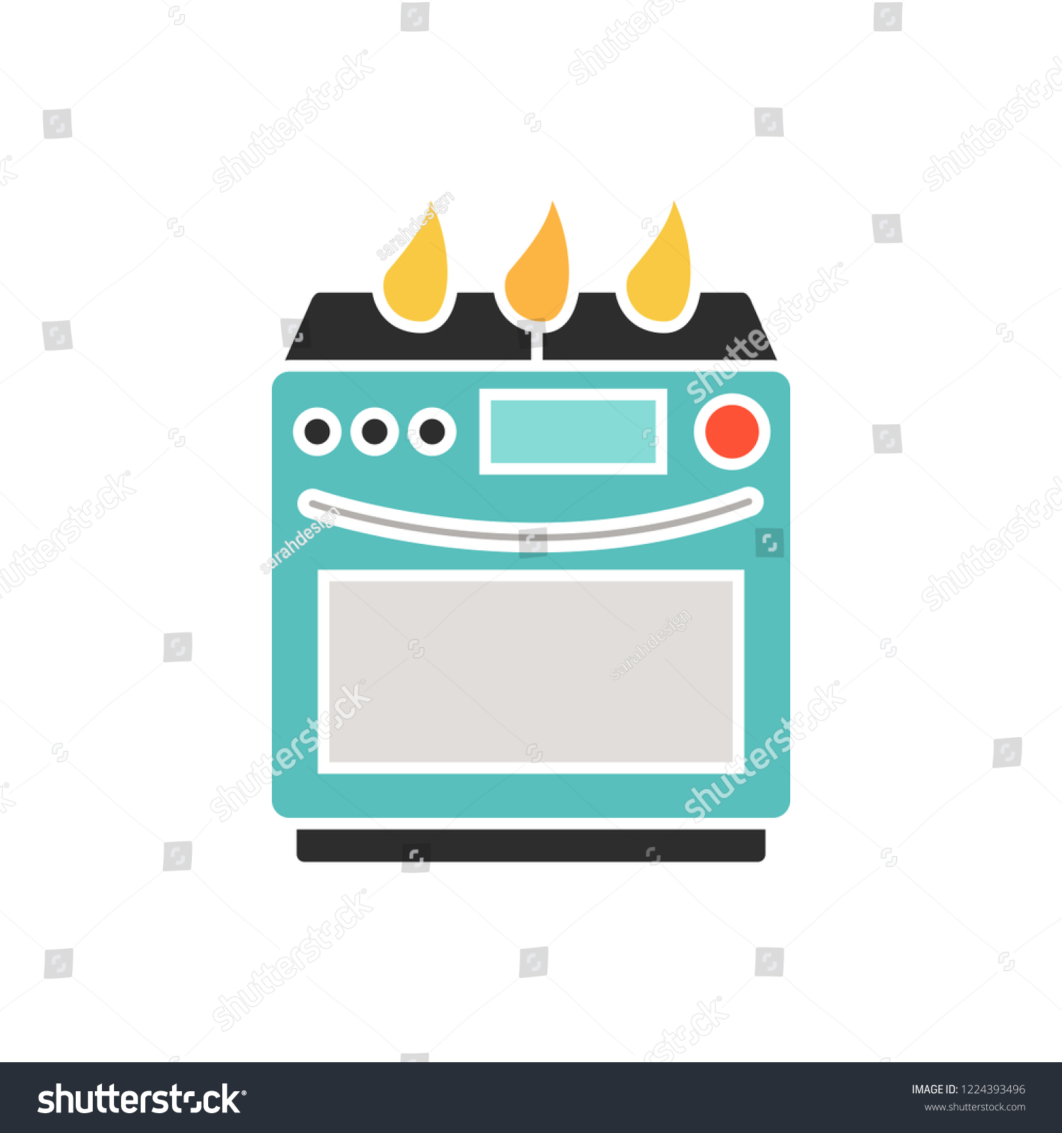 9c3113c3eb vector cooking stove icon. Flat illustration of kitchen equipment. cooking  appliance isolated on white background. oven cooker sign symbol - Vector