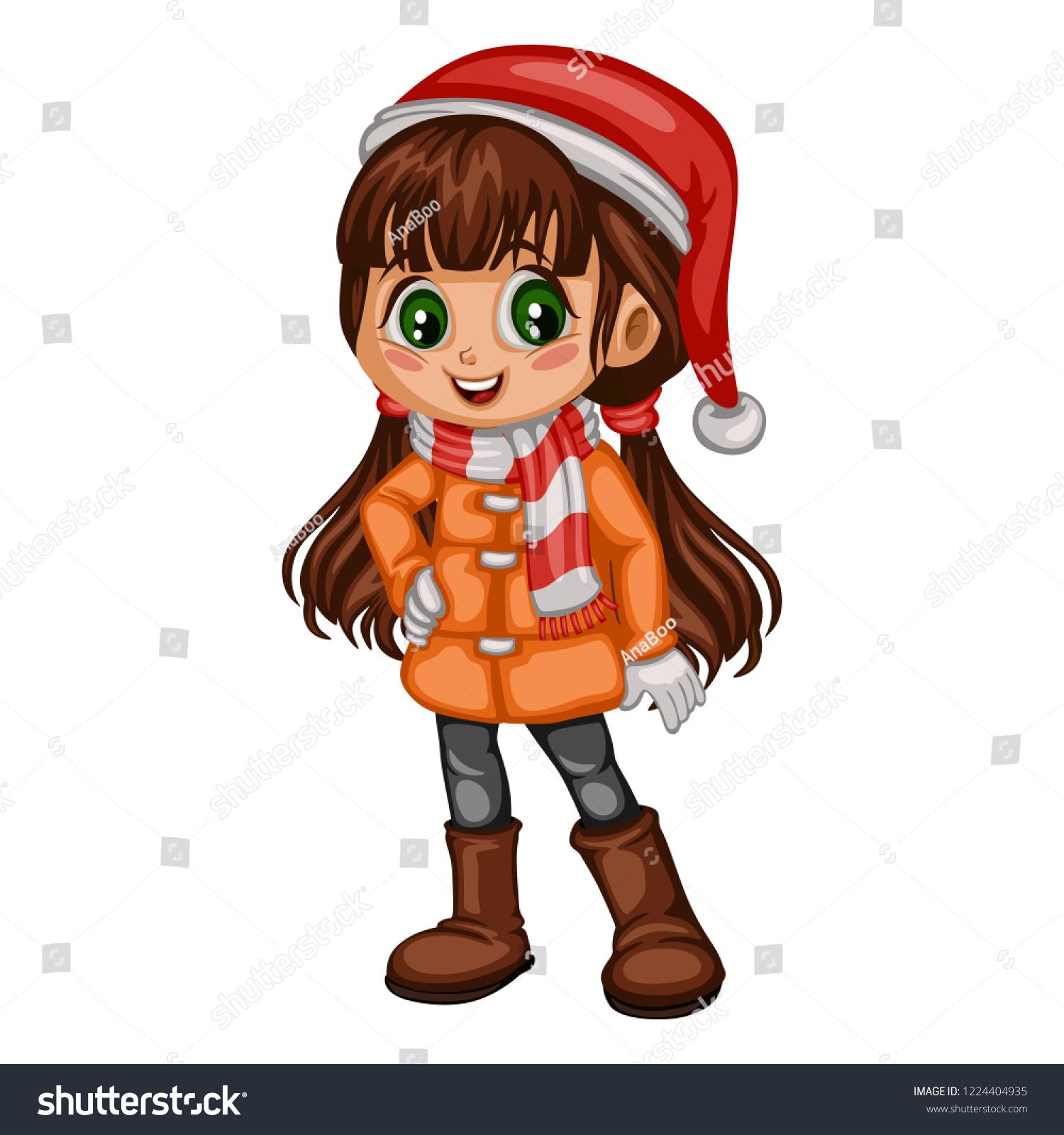 8e638dfc2 Cute Cartoon Girl Winter Clothes Coat Stock Vector (Royalty Free ...