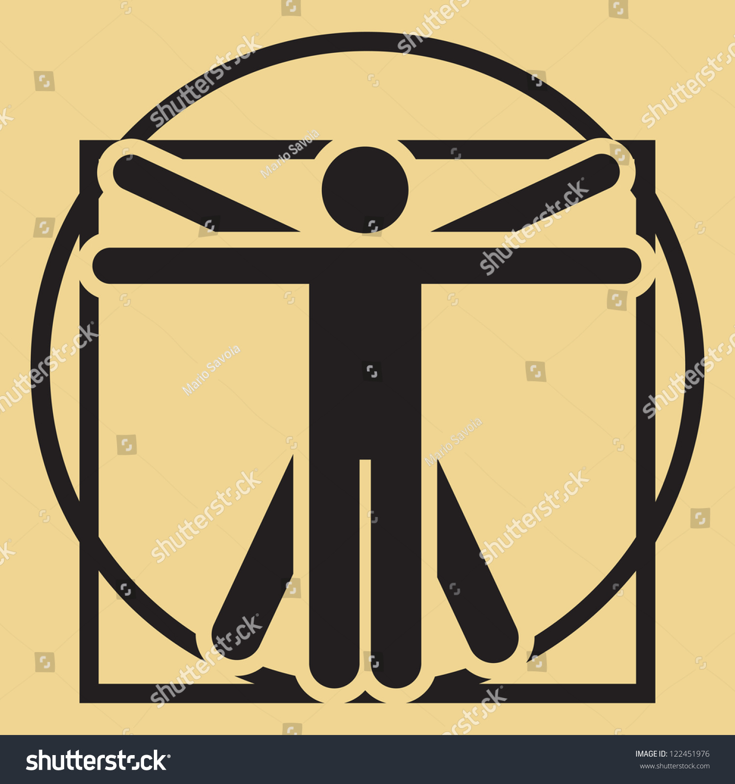 Vector Minimalistic Leonardo Da Vinci Vitruvian Man Sign ... Da Vinci Symbols