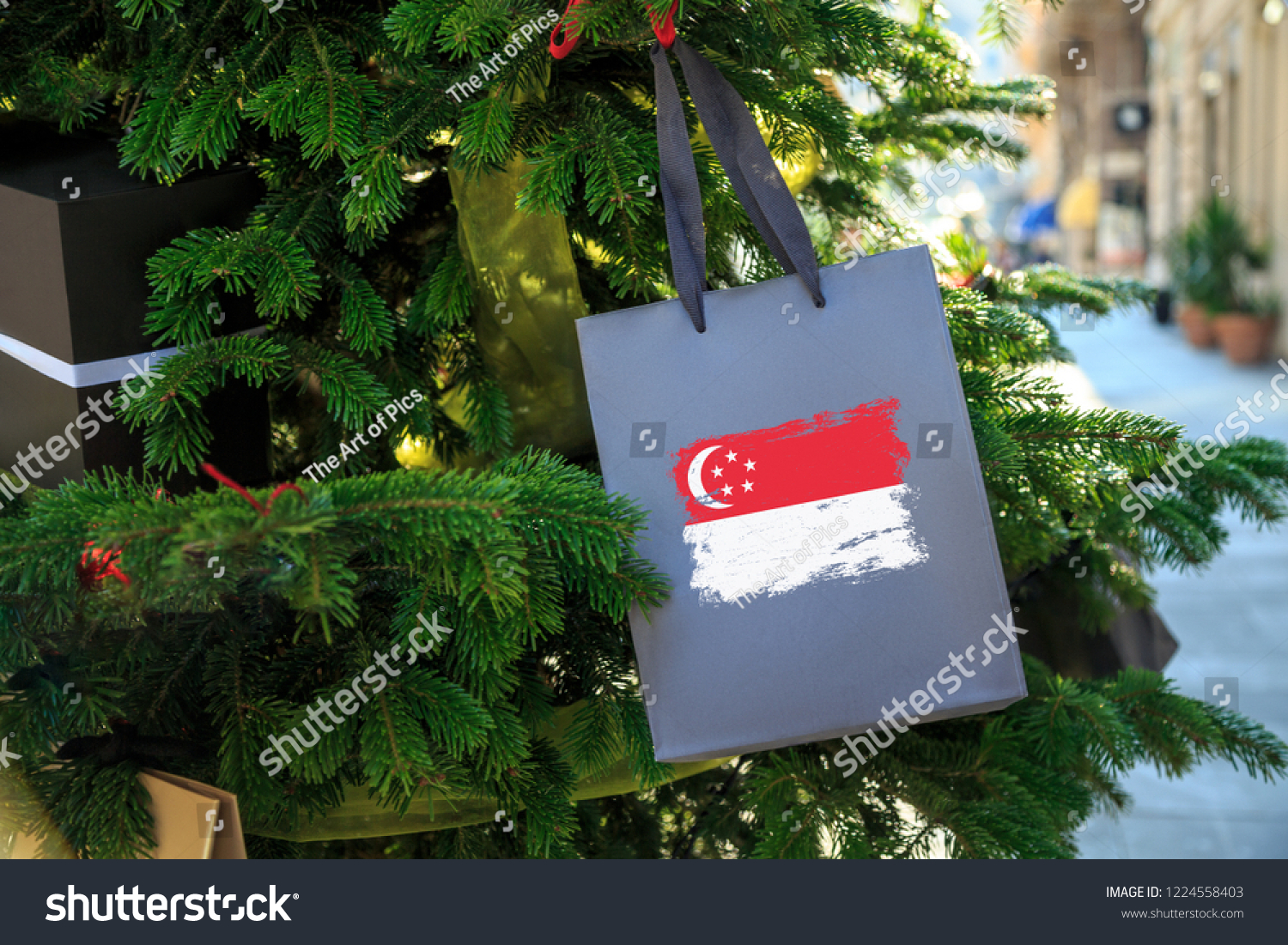 Singapore Flag Printed On Christmas Shopping Stock Photo (Edit Now ...