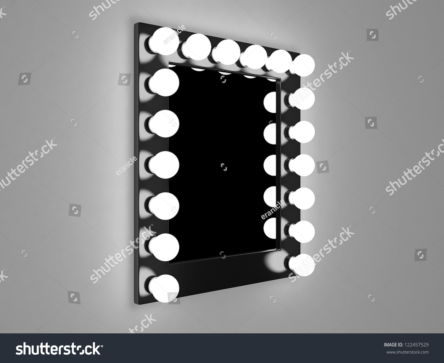3d Illustration Of Mirror With Bulbs For Makeup - 122457529 ...:Save to a lightbox,Lighting