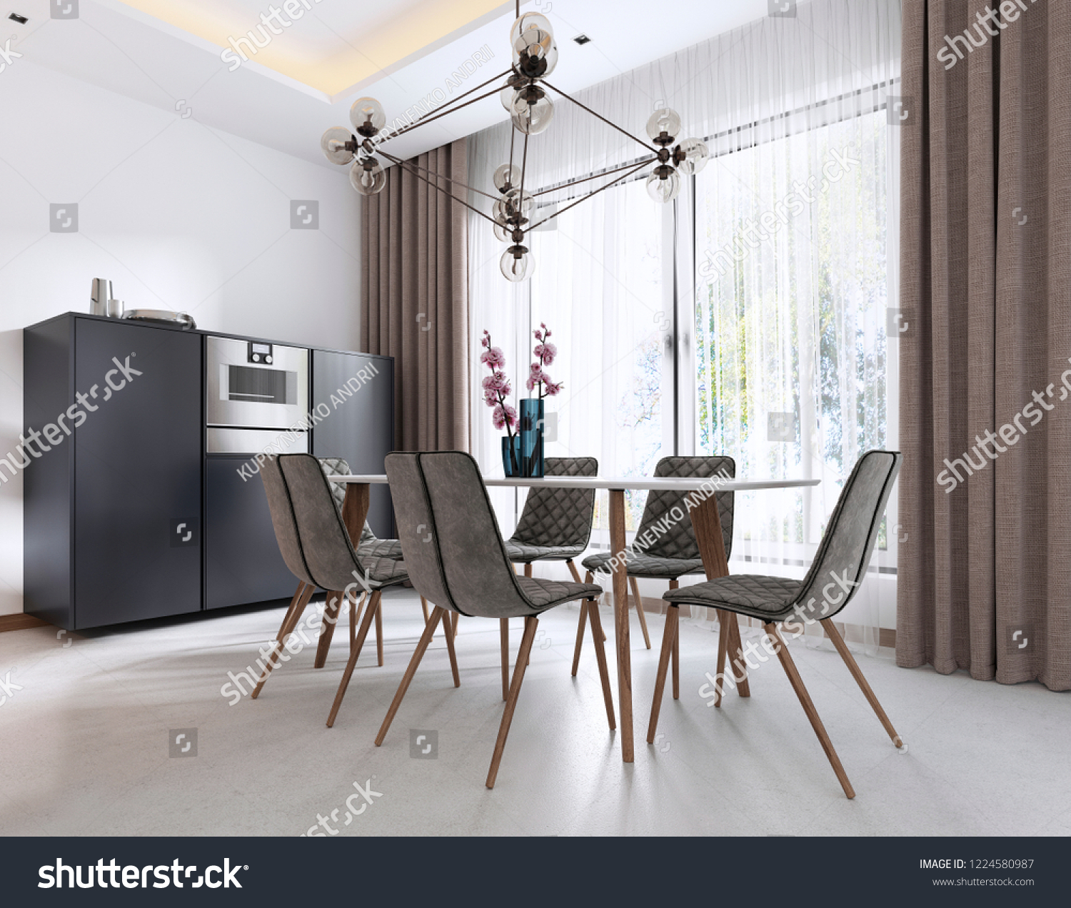 Dining Room Contemporary Style Modern Chairs Stock