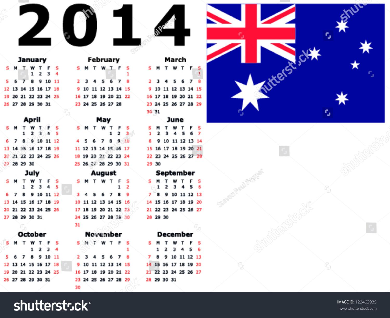 2014 Calendar Flag Australia Stock Vector 122462935 - Shutterstock