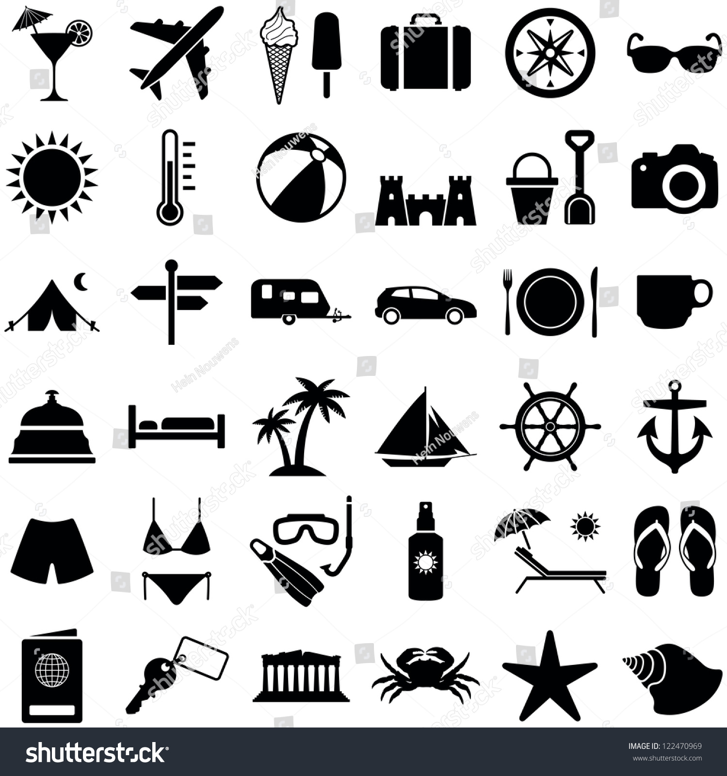 travel vacation icon collection vector silhouette stock Sand Clip Art Sand Clip Art