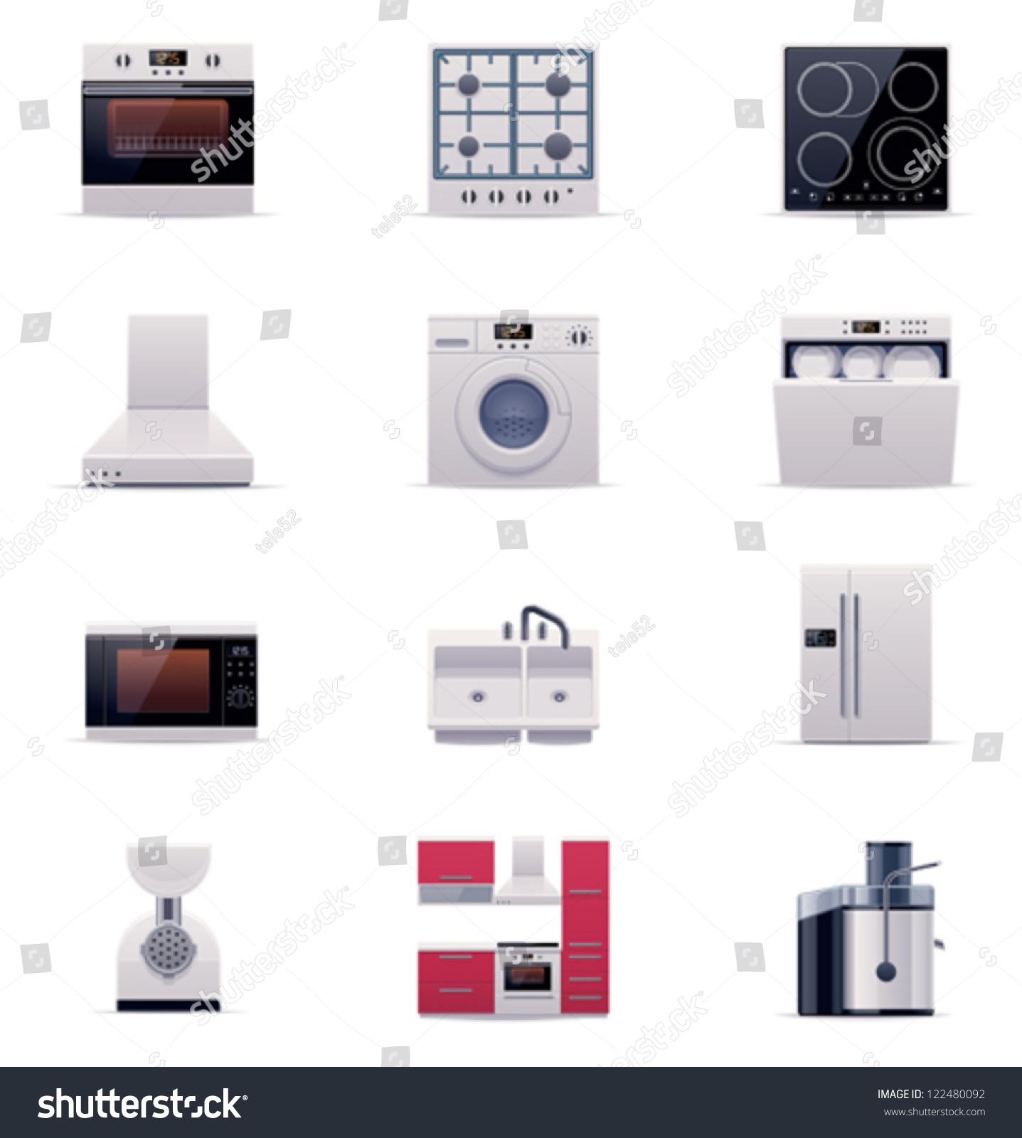Domestic Kitchen Appliances Vector Domestic Kitchen Appliances And Electronics Icon Set Part