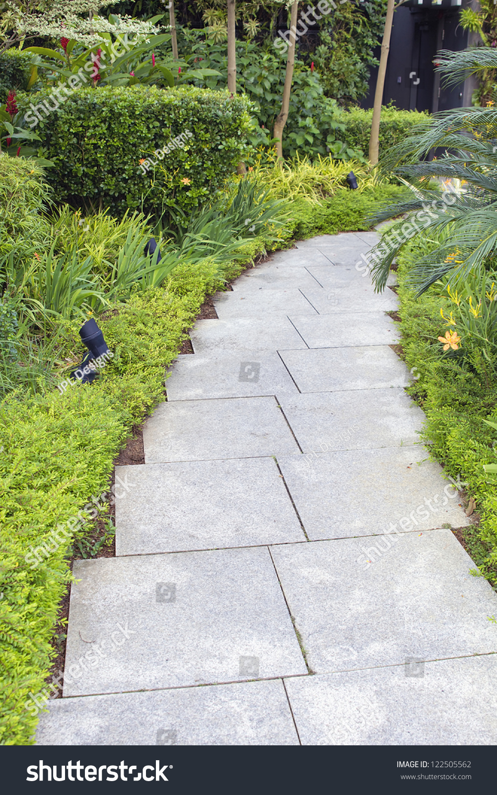 Granite Stone Square Pavers Garden Path With Trees Shrubs