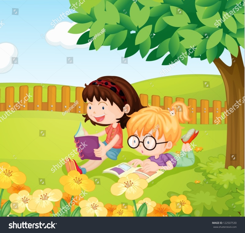 illustration girls reading books under tree stock vector
