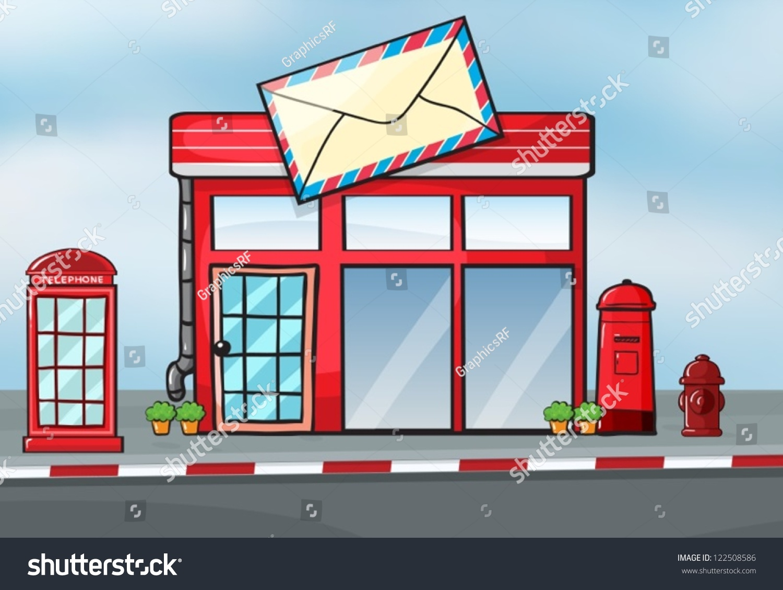 illustration post office near street stock vector