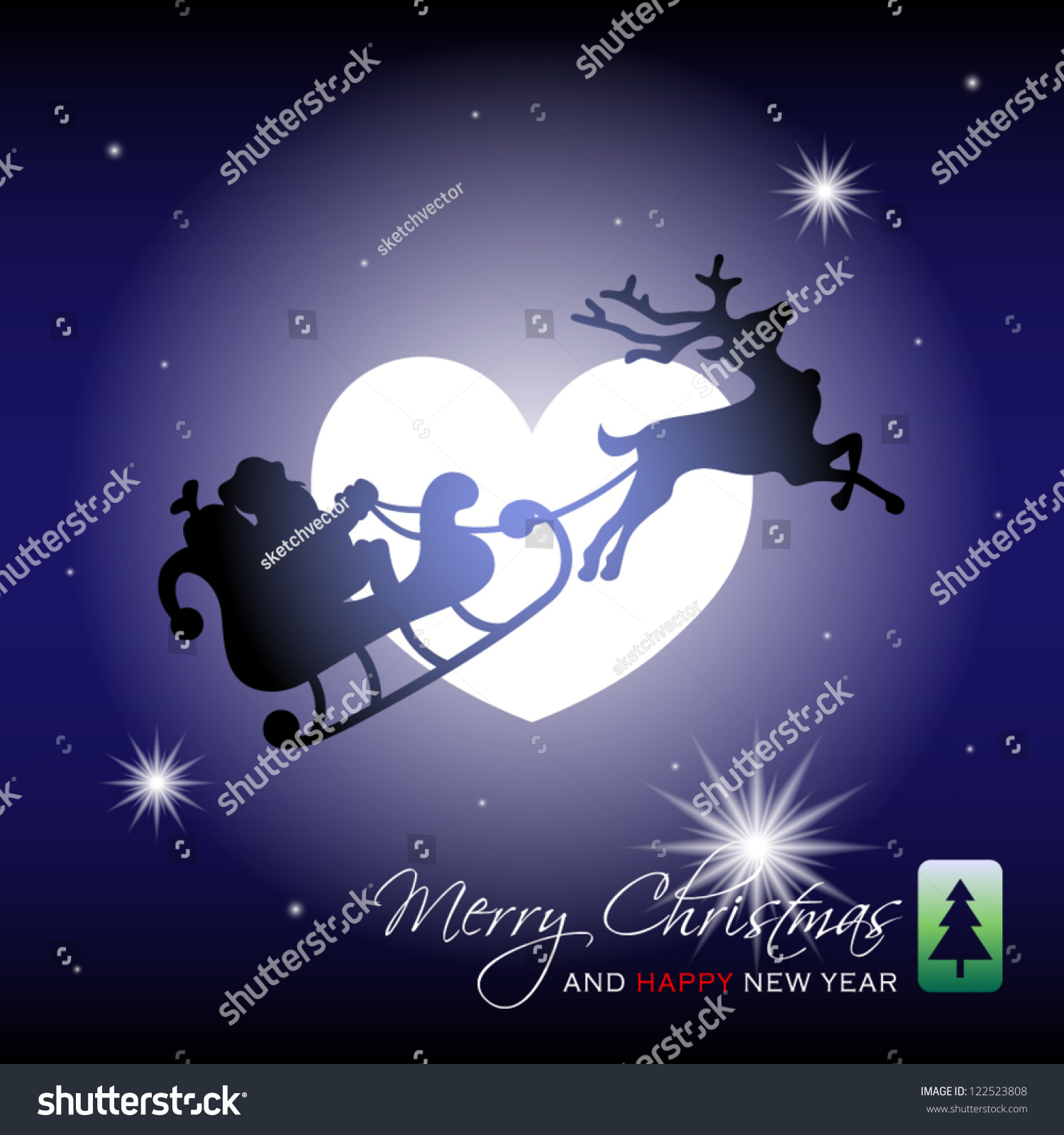 ... Moon Vector illustration of silhouette of santa claus with sleigh