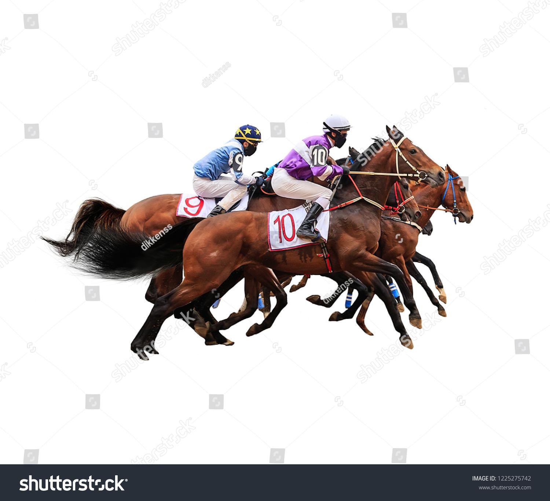 Jockey Horse Racing Isolated On White Stock Photo Edit Now 1225275742