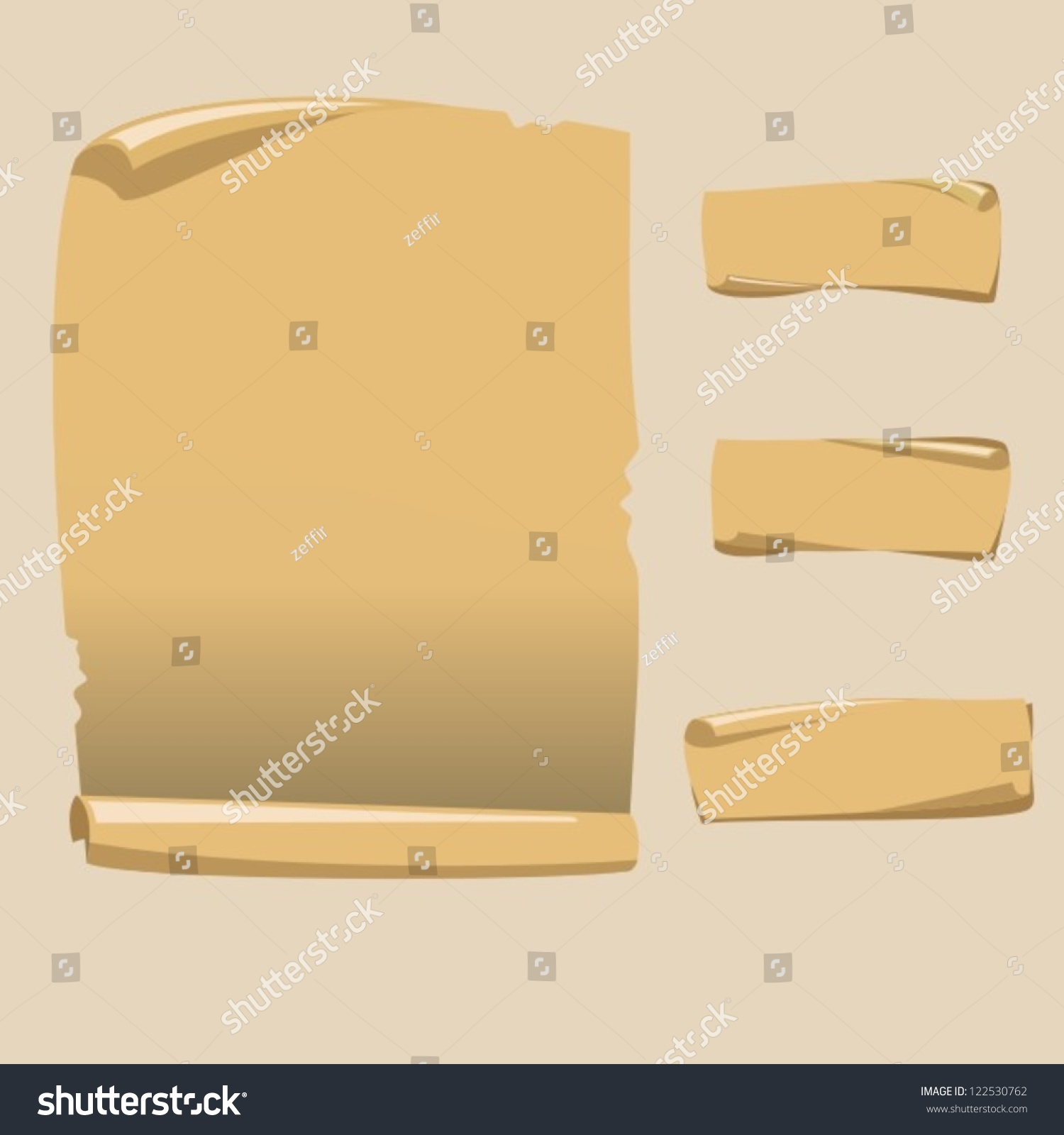 old blank scroll paper on white stock vector 122530762 - shutterstock, Powerpoint templates