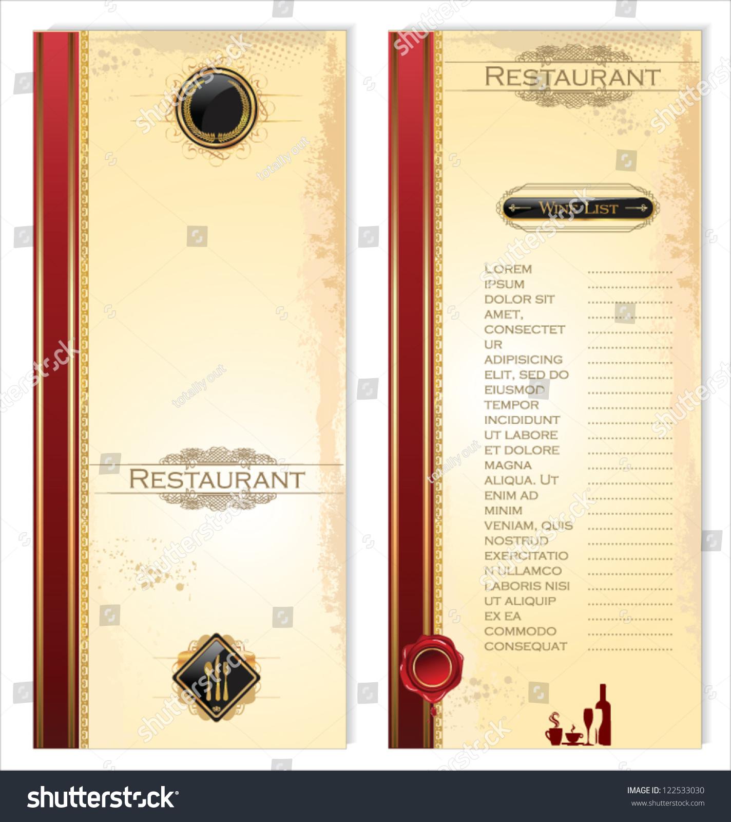 Menu Template Restaurant Cafe Vector 122533030 Shutterstock – Cafe Menu Template