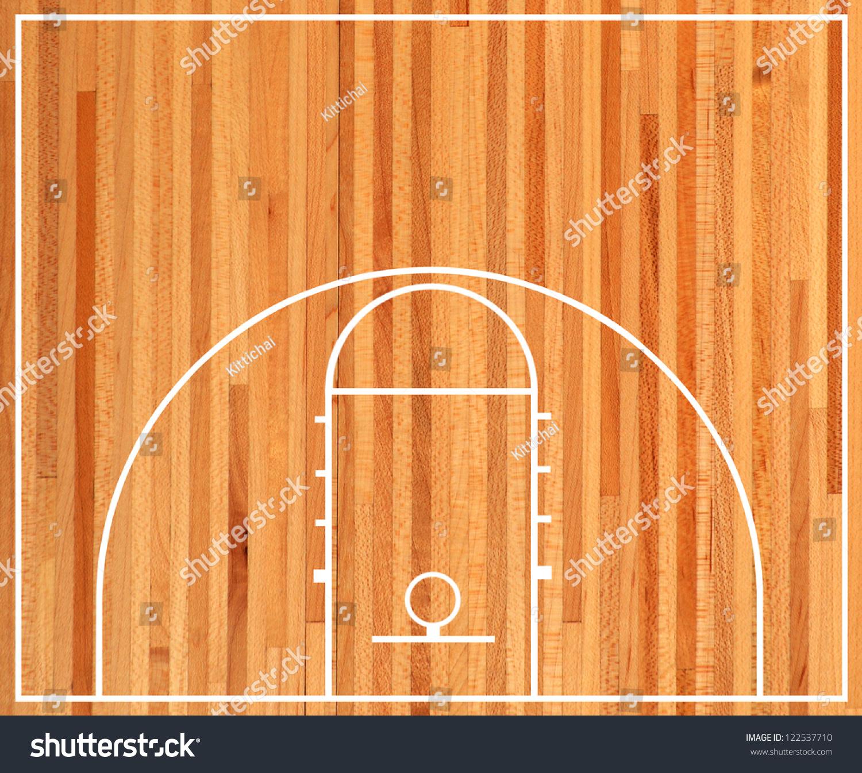 Basketball Floor Texture: Basketball Half Court Parquet Stock Photo 122537710